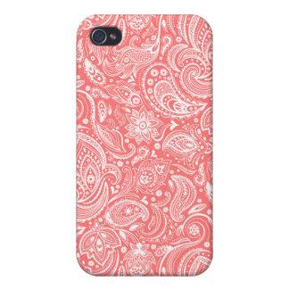 Goral-Roter und weißer Blumenpaisley-Entwurf iPhone 4 Hüllen