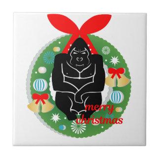 Gorilla der frohen Weihnachten Fliese