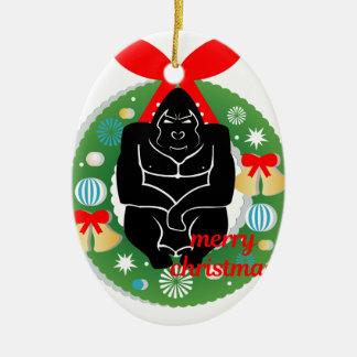 Gorilla der frohen Weihnachten Keramik Ornament