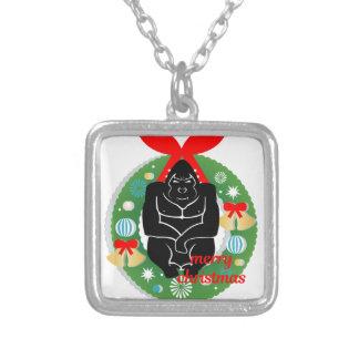 Gorilla der frohen Weihnachten Versilberte Kette