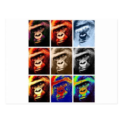 Gorilla-Gesichter Postkarte