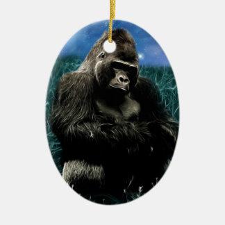 Gorilla in der Wiese Ovales Keramik Ornament