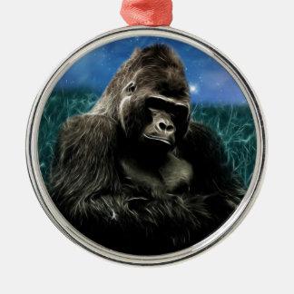 Gorilla in der Wiese Silbernes Ornament