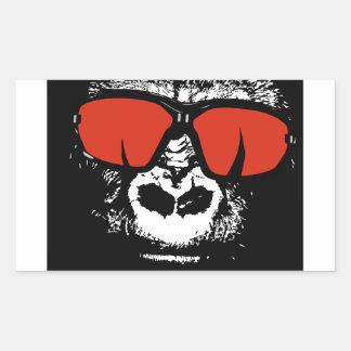 Gorilla mit Gläsern Rechteckiger Aufkleber