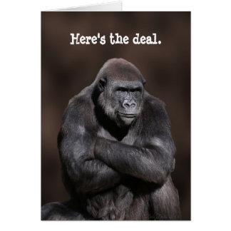 Gorilla mit Haltungs-Geburtstag Karte