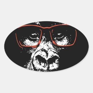 Gorilla-Rot-Gläser Ovaler Aufkleber