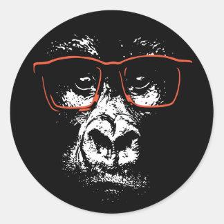 Gorilla-Rot-Gläser Runder Aufkleber