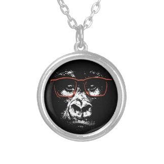 Gorilla-Rot-Gläser Versilberte Kette