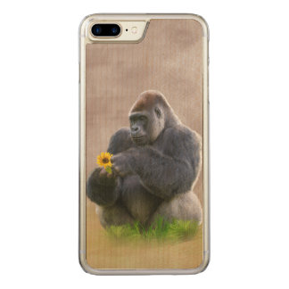 Gorilla und gelbes Gänseblümchen Carved iPhone 8 Plus/7 Plus Hülle