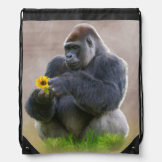 Gorilla und gelbes Gänseblümchen Turnbeutel