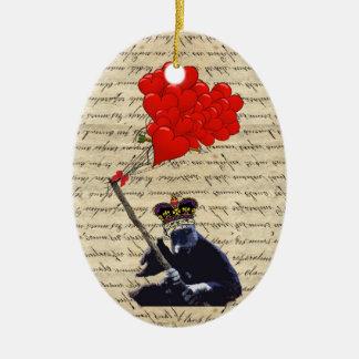 Gorilla- und Herzballone Keramik Ornament