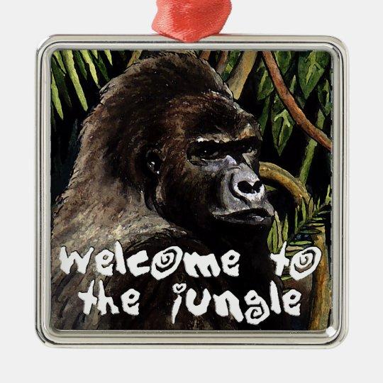 gorilla welcome to the jungle silbernes ornament