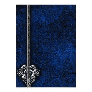 Goth blaue Damast-Silber-Herzhochzeit 12,7 X 17,8 Cm Einladungskarte