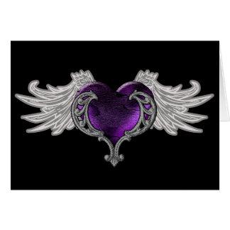 Goth lila Herz mit Engels-Flügeln Karte