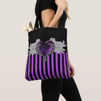 Goth lila Herz mit Engels-Flügeln Tasche