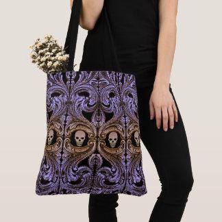 Goth lila Verzierung mit dem Schädel Tasche
