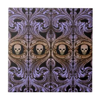 Goth lila Verzierung und Schädel-Fliese Fliese