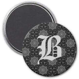 Goth mittelalterliches Kaleidoskopmonogramm B Runder Magnet 7,6 Cm