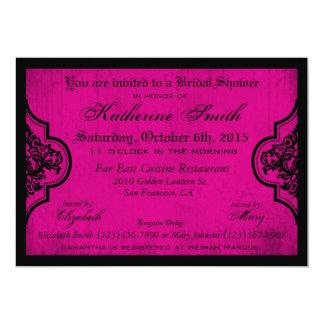Goth pinkfarbenes Damastgrunge-Brautparty Karte