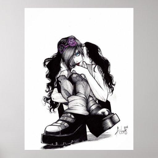 Goth Punk-Küken Posterdrucke