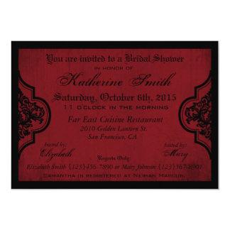 Goth rotes Damastgrunge-Brautparty Karte