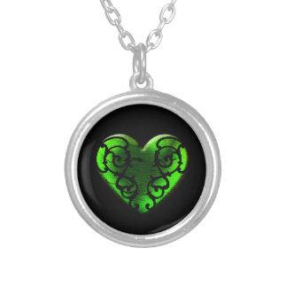 Goth St Patrick Tagesgrün-Herz Versilberte Kette