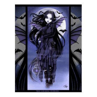 Goth Vampire-Schläger-feenhafter lila Mond Morgan Postkarte
