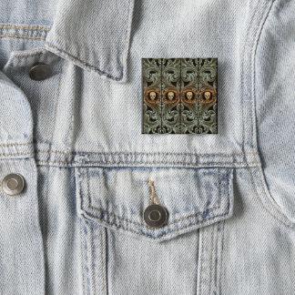 Goth weises Grün-Verzierung mit dem Schädel Quadratischer Button 5,1 Cm