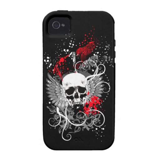 Goth Winged Schmutz-Schädel iPhone Fall (rot) Vibe iPhone 4 Case