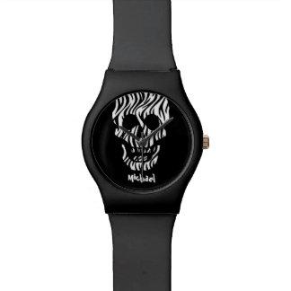 Goth Zebra-Schädel-individueller Name V03 Handuhr