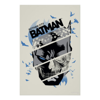 Gotham City Batman Schädel-Collage Poster