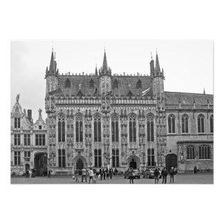 Gotische Art von Rathaus von Brügge Fotodruck