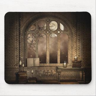 Gotische Bibliotheks-Fenster-Mausunterlage Mousepads
