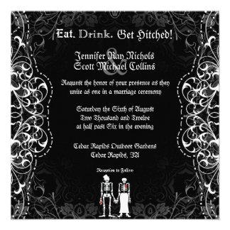 Gotische Braut-u Bräutigam-Skeleton Einladungskarte