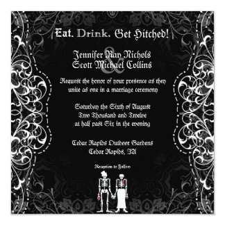 Gotische Braut-u. Bräutigam-Skeleton Einladungskarte