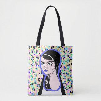 Gotische Dame auf buntem Hintergrund Tasche