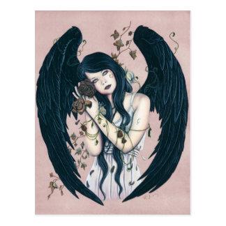 Gotische Engels-Zerfallwither-Blumen-rosa Postkarte