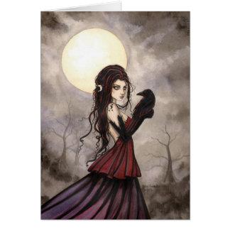 Gotische Fantasie-Hexe und Rabe Wiccan Kunst Grußkarte