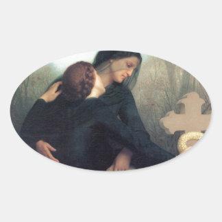 Gotische Frauen Bouguereau des schwarzen Ovaler Aufkleber