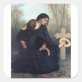 Gotische Frauen Bouguereau des schwarzen Quadratischer Aufkleber