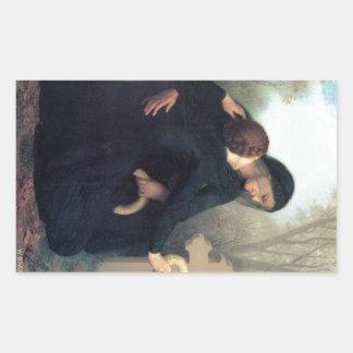 Gotische Frauen Bouguereau des schwarzen Rechteckiger Aufkleber