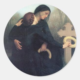 Gotische Frauen Bouguereau des schwarzen Runder Aufkleber