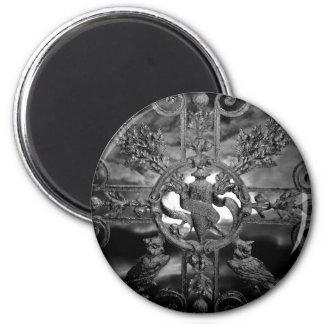 Gotische Friedhofstoreulen Runder Magnet 5,7 Cm