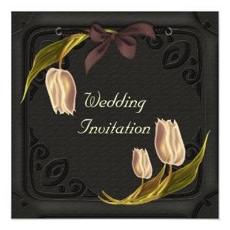 Gotische Frühlings-Hochzeits-Einladungen Quadratische 13,3 Cm Einladungskarte