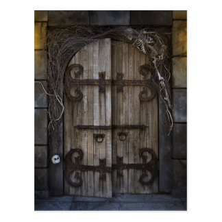 Gotische gespenstische Tür-Postkarte Postkarte