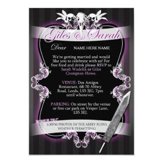 Gotische Hochzeits-Einladung - Kommission 12,7 X 17,8 Cm Einladungskarte