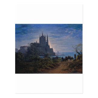 Gotische Kirche auf einem Felsen durch das Meer Postkarte