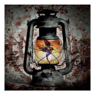 Gotische Kolibri-Laterne Poster