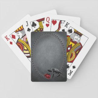 Gotische Krähe auf Rosen-Spielkarten Spielkarten