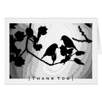 Gotische Liebe-Vogel-Silhouetten danken Ihnen Karte